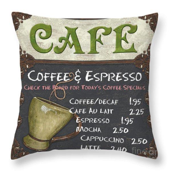 Cafe Chalkboard Throw Pillow by Debbie DeWitt