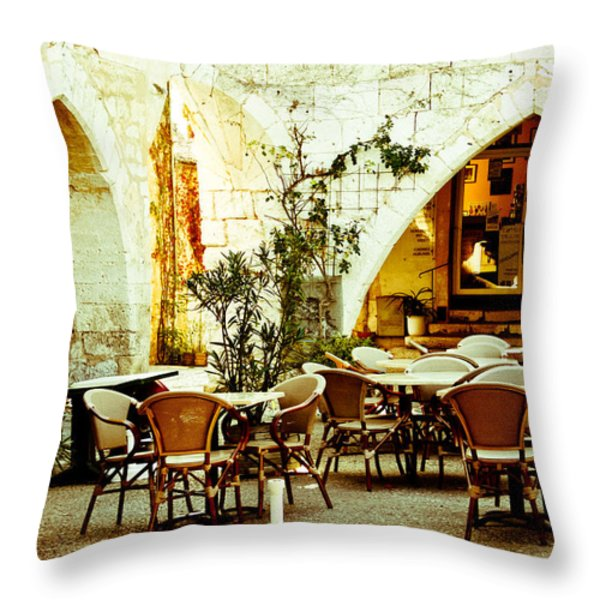 Cafe France Throw Pillow by Nomad Art And  Design