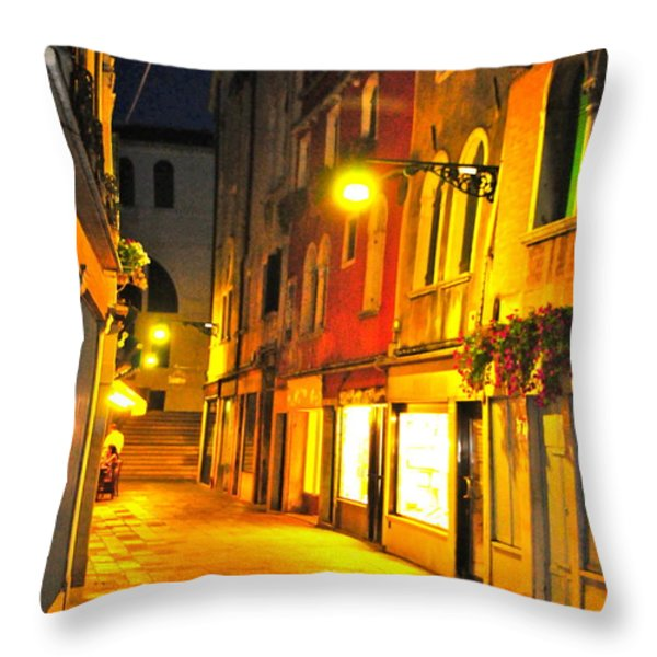 Cafe in Venice Throw Pillow by Alberta Brown Buller