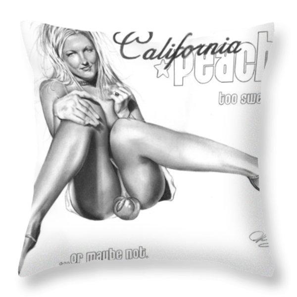 California Peaches Throw Pillow by Pete Tapang
