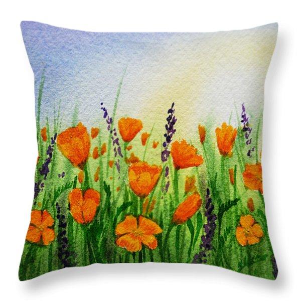 California Poppies Field Throw Pillow by Irina Sztukowski