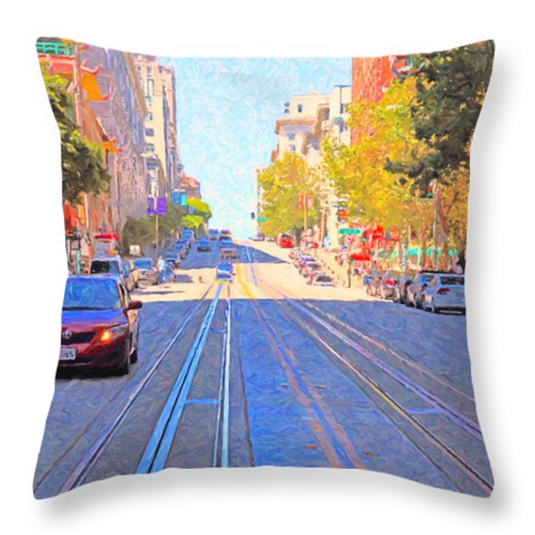 California Street In San Francisco Looking Up Towards Chinatown 2 Throw Pillow by Wingsdomain Art and Photography
