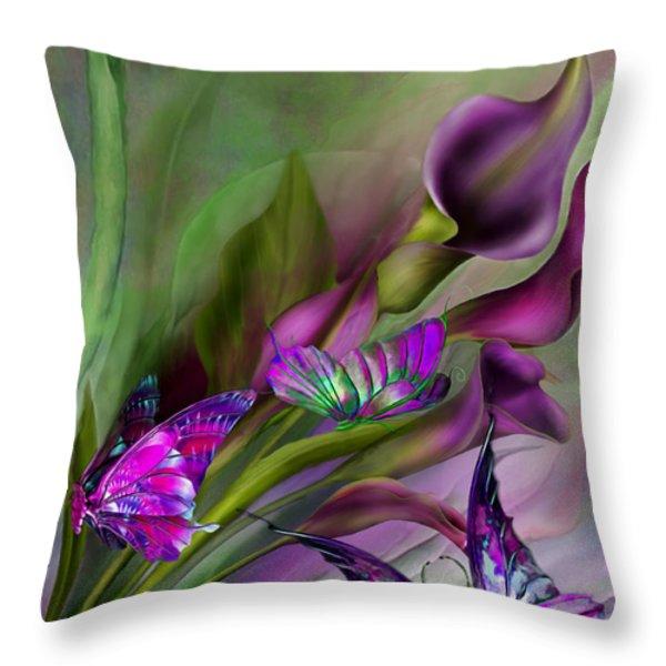 Calla Lilies Throw Pillow by Carol Cavalaris