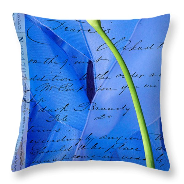 Calla Lilly On Blue Ribbon Love Letter Throw Pillow by Anahi DeCanio