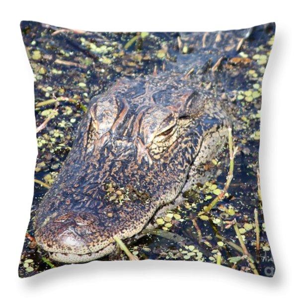 Camouflaged Gator Throw Pillow by Carol Groenen