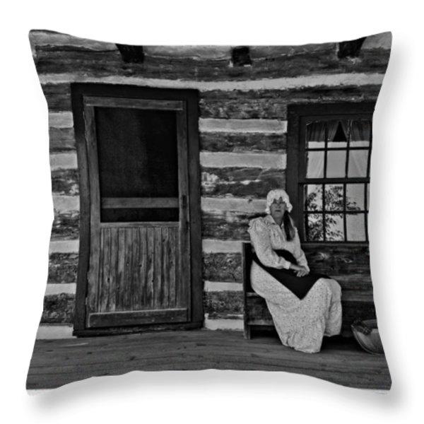 Canadian Gothic monochrome Throw Pillow by Steve Harrington