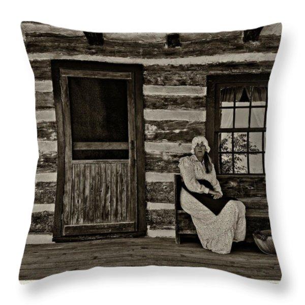 Canadian Gothic sepia Throw Pillow by Steve Harrington