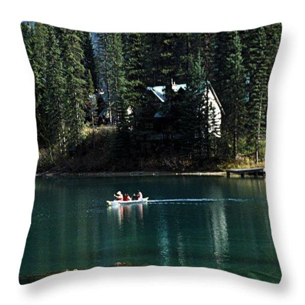 Canadian Rockies Throw Pillow by John Doornkamp