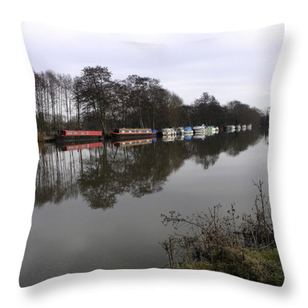 Canal boats on the Thames Throw Pillow by Mike Lester