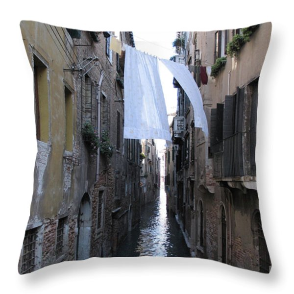 Canal. Venice Throw Pillow by BERNARD JAUBERT