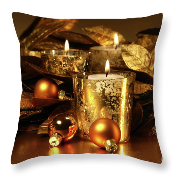 Candles Light In Sparkling Gold  Throw Pillow by Sandra Cunningham