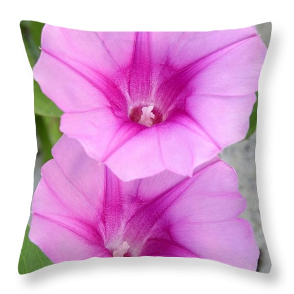 Candy Pink Morning Glory Flowers Throw Pillow by Sabrina L Ryan
