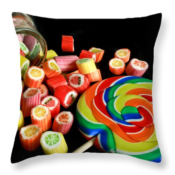 Candy Rocks  Candy Sucker Throw Pillow by Tracy  Hall