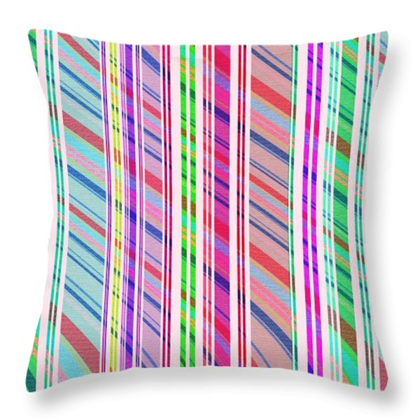 Candy Stripe Throw Pillow by Louisa Knight