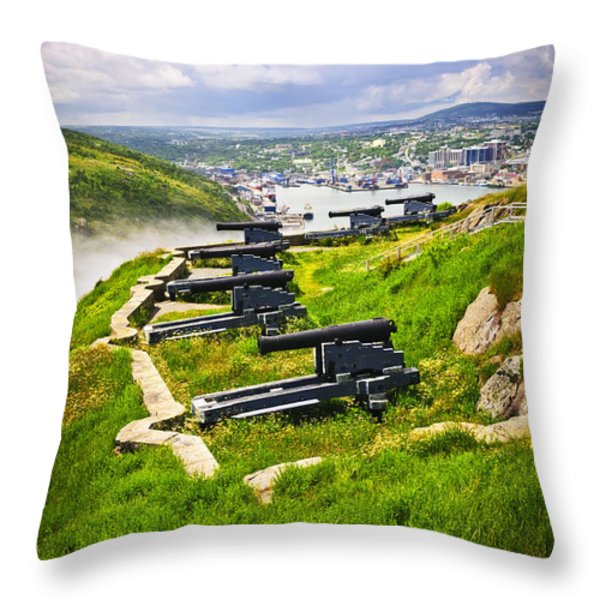 Cannons on Signal Hill near St. John's Throw Pillow by Elena Elisseeva