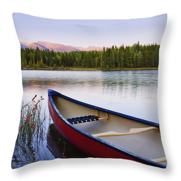 Canoe And Boya Lake At Sunset, Boya Throw Pillow by Yves Marcoux