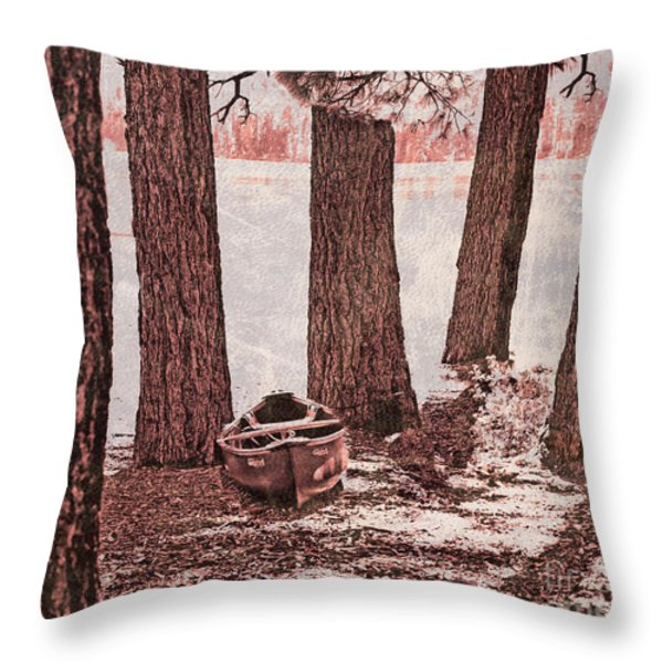 Canoe in the Woods Throw Pillow by Cheryl Young