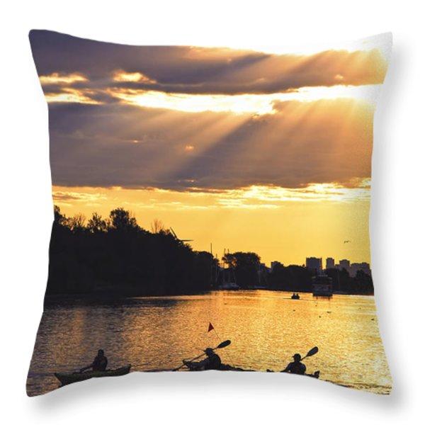 Canoeing Throw Pillow by Elena Elisseeva