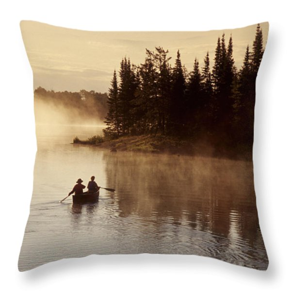 Canoeing On Winnipeg River, Pinawa Throw Pillow by Dave Reede