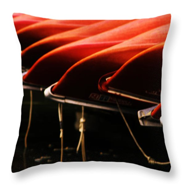 Canoes Of Red Throw Pillow by Bob Christopher