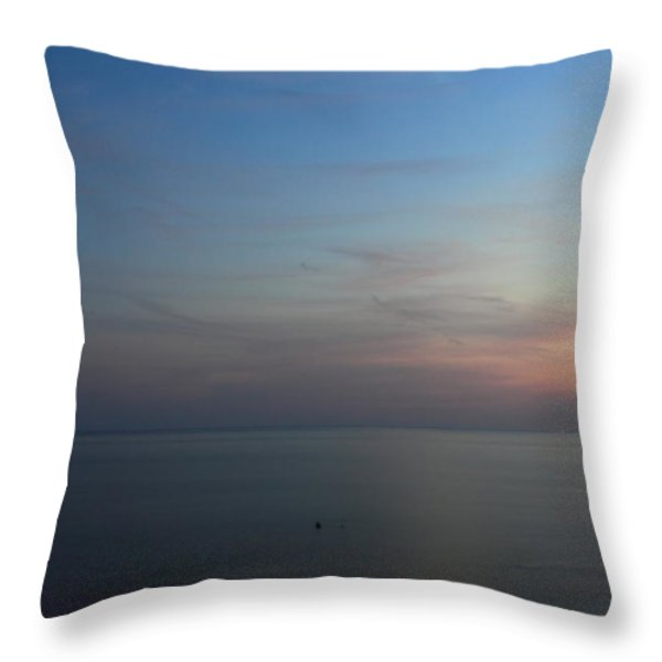 Cape Cod Bay Dusk Moon Throw Pillow by John Burk