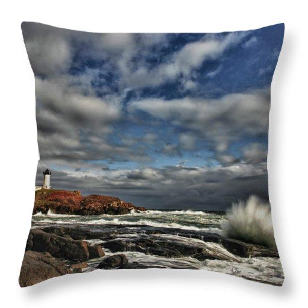 Cape Neddick Lighthouse Throw Pillow by Rick Berk