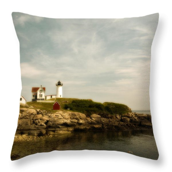 Cape Neddick Lighthouse Throw Pillow by Warren Carrington