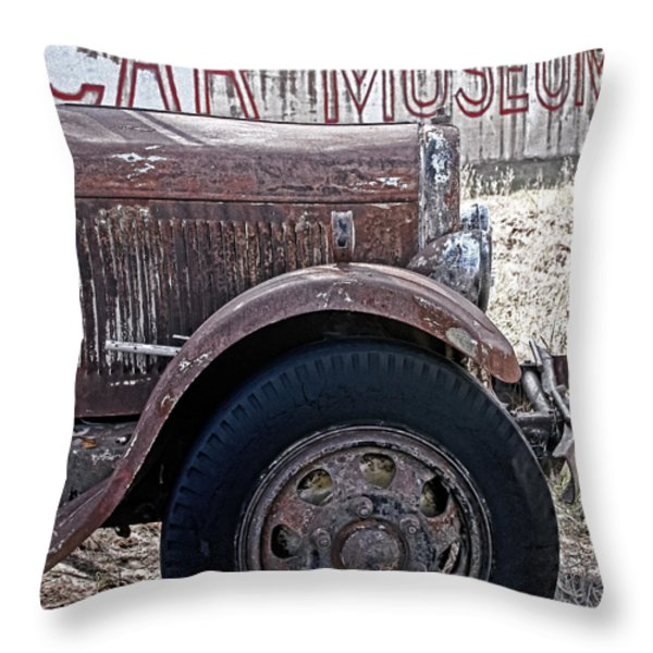 Car Museum Throw Pillow by TONY GRIDER