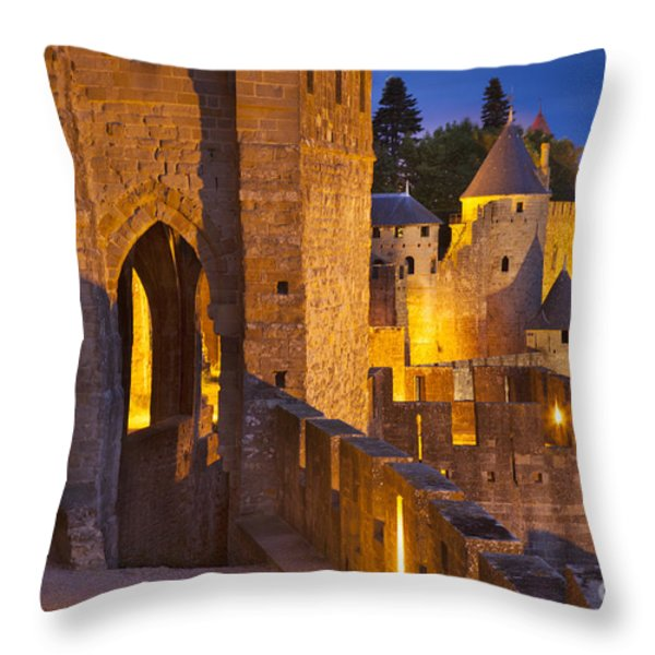 Carcassonne Ramparts Throw Pillow by Brian Jannsen