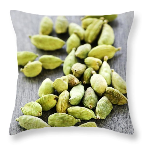 Cardamom Seed Pods Throw Pillow by Elena Elisseeva