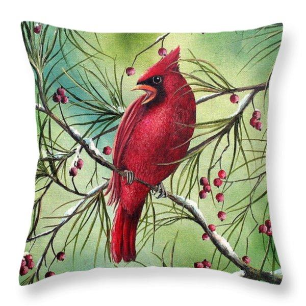 Cardinal Throw Pillow by David G Paul