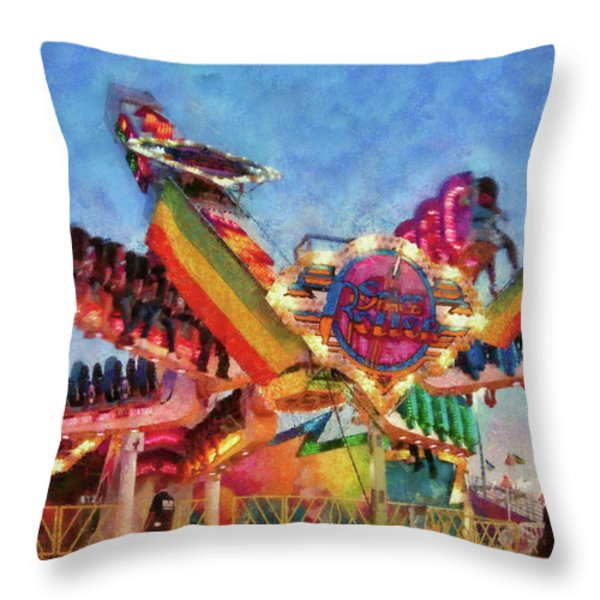 Carnival - A most colorful ride Throw Pillow by Mike Savad