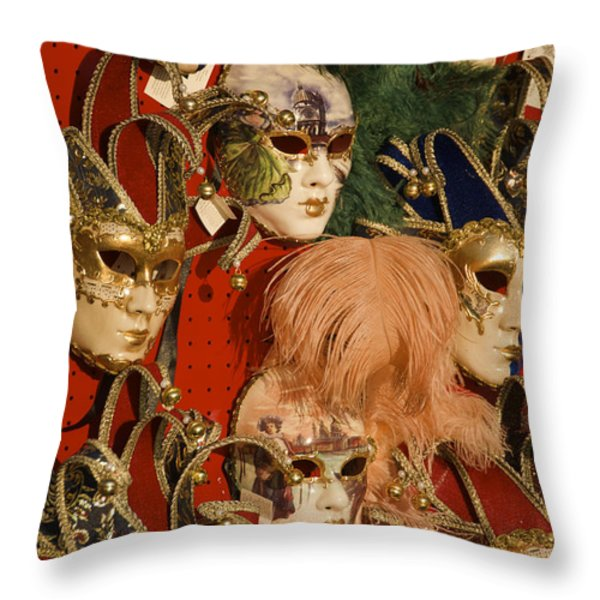 Carnival Masks For Sale Throw Pillow by Jim Richardson