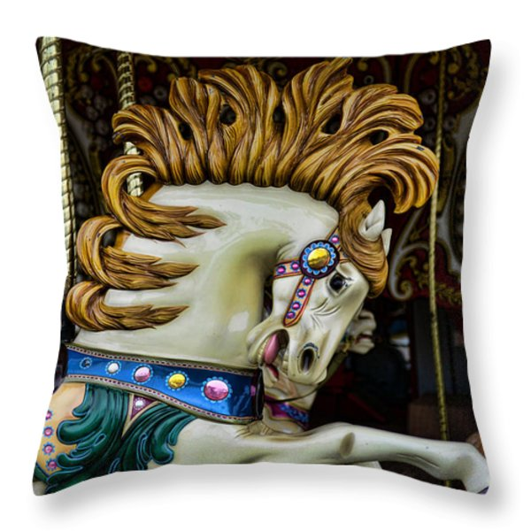 Carousel horse - 4 Throw Pillow by Paul Ward
