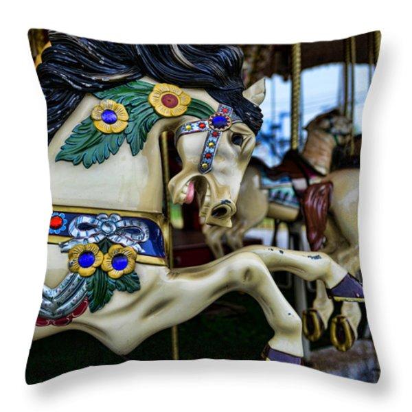 Carousel Horse 5 Throw Pillow by Paul Ward