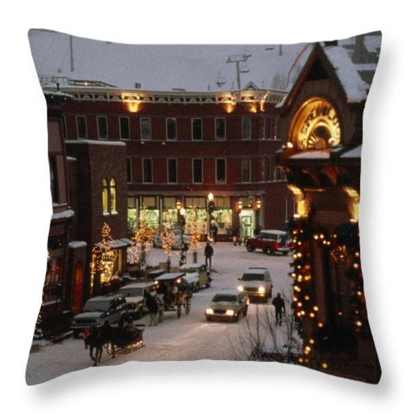 Carriage And Slded On Snowy Steets Throw Pillow by Paul Chesley