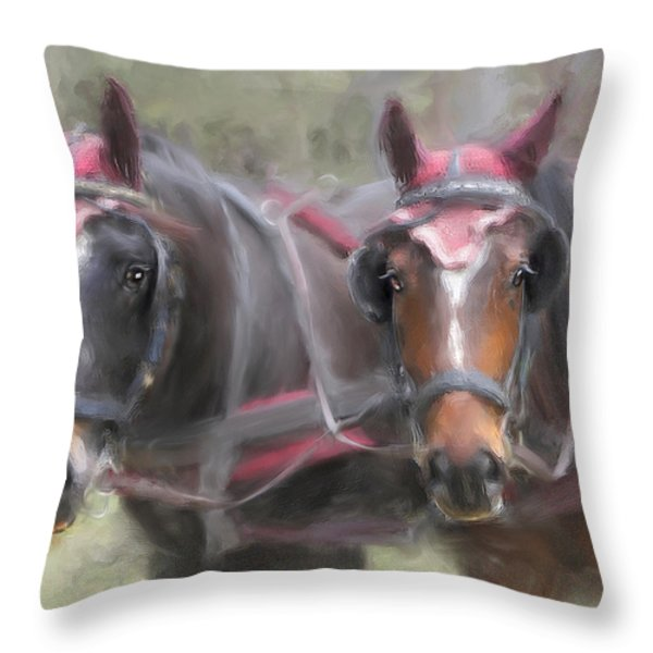Carriage Horses Pleasure Pair Throw Pillow by Connie Moses