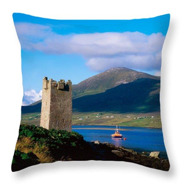 Carrickkildavnet Castle, Achill Island Throw Pillow by The Irish Image Collection