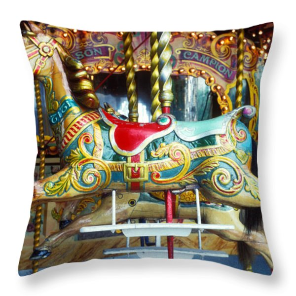 Carrouse horse Paris France Throw Pillow by Garry Gay