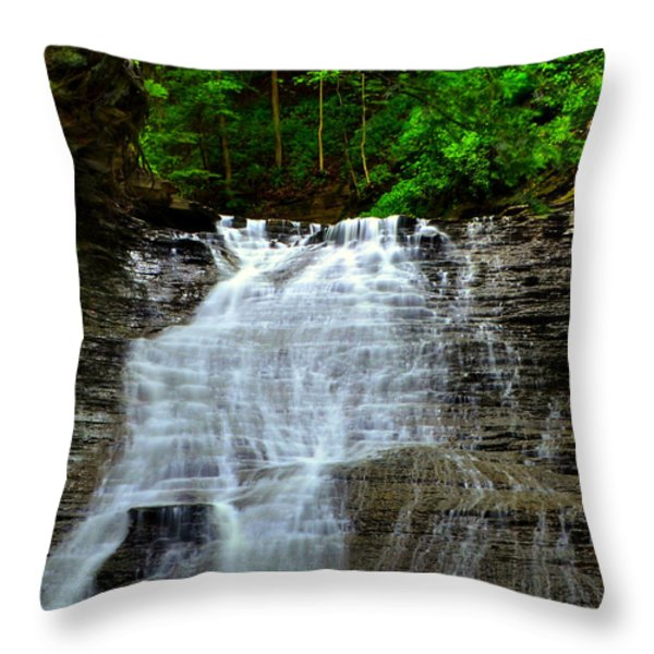 Cascading Falls Throw Pillow by Frozen in Time Fine Art Photography