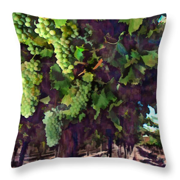 Cascading Grapes Throw Pillow by Elaine Plesser