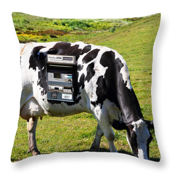 Cash Cow . 7D16140 Throw Pillow by Wingsdomain Art and Photography