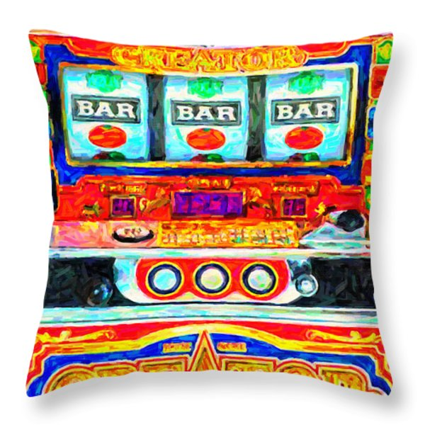 Casino Slot Machine . One Arm Bandit . Triple Bar Bonus Jack Pot Throw Pillow by Wingsdomain Art and Photography
