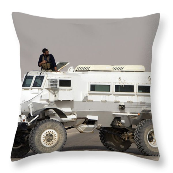 Casper Armored Vehicle Blocks The Road Throw Pillow by Terry Moore