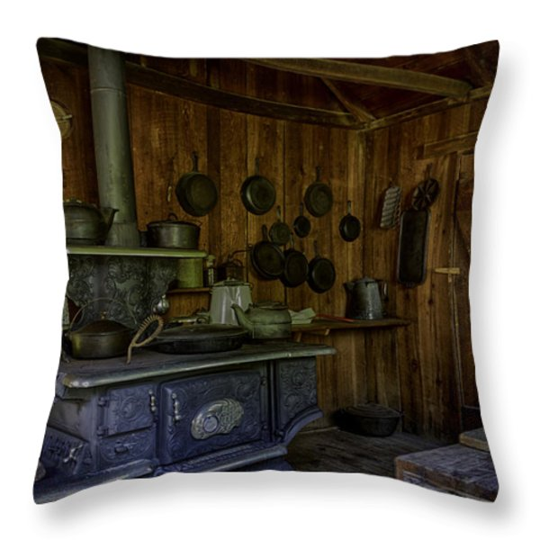Cast Iron Wood Stove Throw Pillow by Lynn Palmer