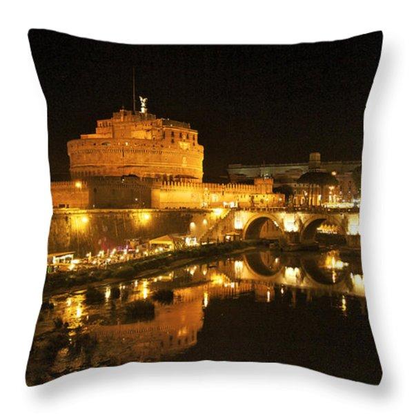 Castel San Angelo at night. Rome Throw Pillow by BERNARD JAUBERT