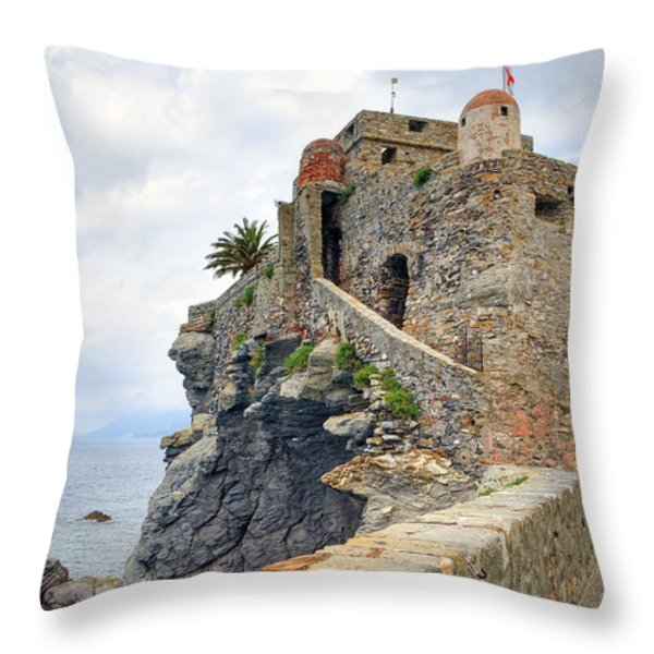 Castello della Dragonara in Camogli Throw Pillow by Joana Kruse