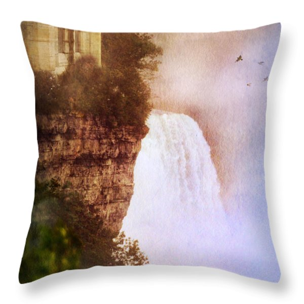 Castle At The Edge Of The Falls Throw Pillow by Jill Battaglia
