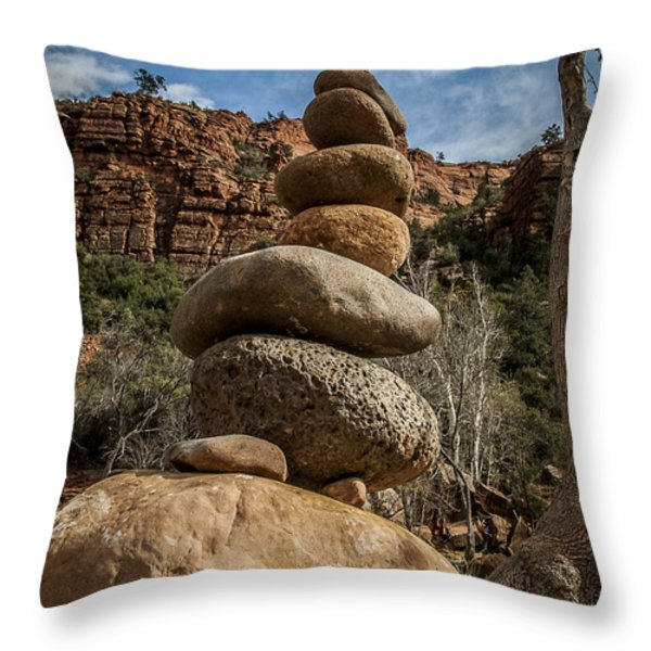 Castle Rock Cairn Throw Pillow by Darcy Michaelchuk