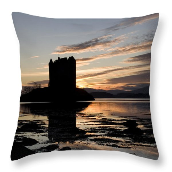 Castle Stalker Throw Pillow by Pat Speirs